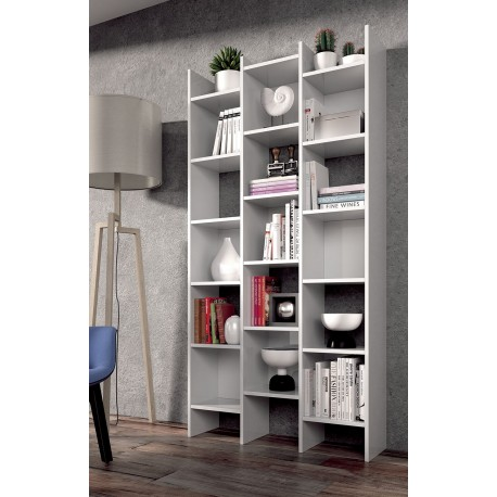 Cadiz White Gloss Triple Bookcase