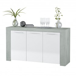 Curro White Gloss and Grey Sideboard