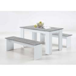 Danto White & Concrete Grey Dining Table With Bench Seats