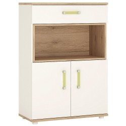4KIDS 2 door 1 drawer cupboard with open shelf with lemon handles