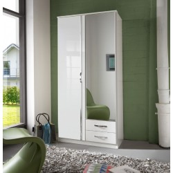 Ivana German White Gloss 2 Door 2 Drawer Wardrobe
