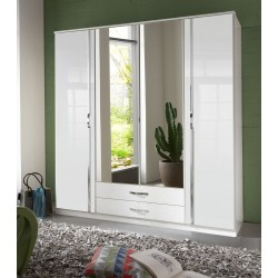 Ivana German White Gloss 4 Door Wardrobe