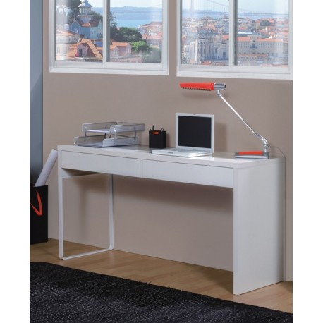 Kuba White Gloss Desk With Drawers
