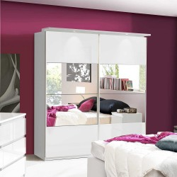 Louise White Gloss Mirrored Sliding Wardrobe