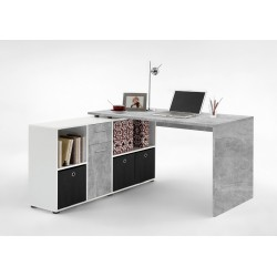 Luiz Concrete Grey and White Corner Desk