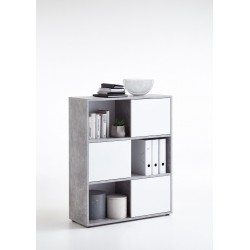 Luiz Concrete Grey and White Short Bookcase