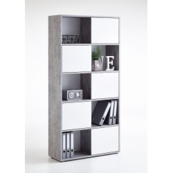 Luiz Concrete Grey and White Tall Bookcase