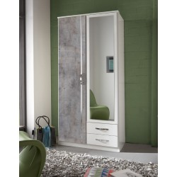 Ramina Concrete Grey and White 2 Door 2 Drawer German Wardrobe