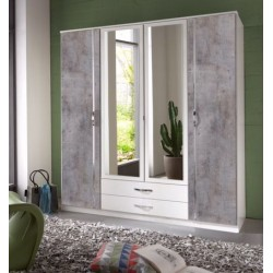 Ramina Concrete Grey and White 4 Door 2 Drawer German Wardrobe