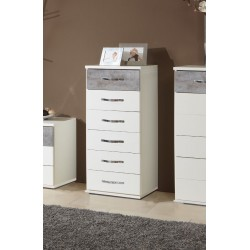 Ramina Concrete Grey And White Narrow Chest of Drawers in