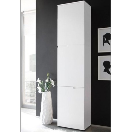 Santino Tall Narrow Bookcase with White Gloss Doors S13