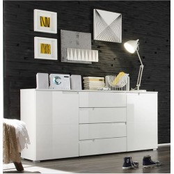 Santino White High Gloss Wide Sideboard S8