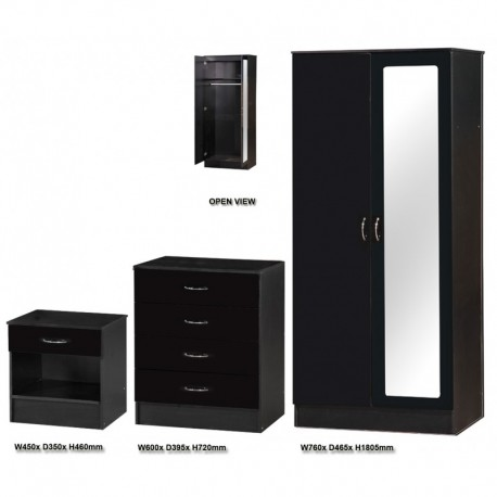 Alpha Black Gloss Two Tone 2 Door Mirrored Set