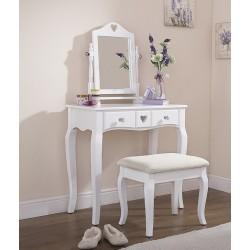 HEART DESIGN Dressing Table & Stool Set In White