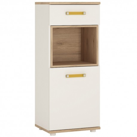 4KIDS 1 door 1 drawer narrow cabinet with orange handles