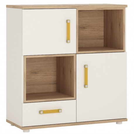 4KIDS 2 door 1 drawer cupboard with 2 open shelves with orange handles