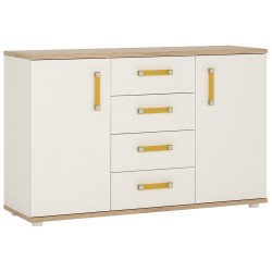 4KIDS 2 door 4 drawer sideboard with orange handles