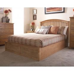 MADRID Solid Wood Storage (5ft-150cm) King Bed Frame In Natural Oak
