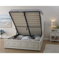 HOLLYWOOD Gas Lift Storage (5ft-150cm) King Bed Frame In White