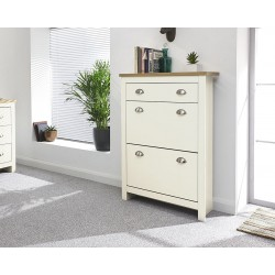 LANCASTER 2 Door 1 Drawer Shoe Cabinet In Cream