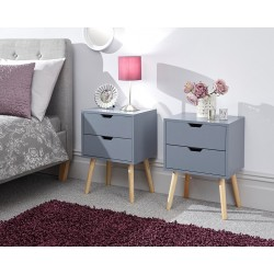 NYBORG 2 Drawer Bedside In Dark Grey