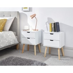NYBORG 2 Drawer Bedside In White