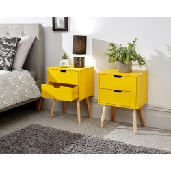 NYBORG 2 Drawer Bedside In Yellow