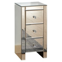 MIRRORED 3 DRAWER SLIM CHEST CLEAR GLASS