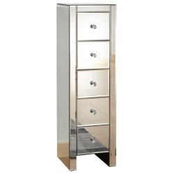 MIRRORED 5 DRAWER SLIM CHEST CLEAR GLASS