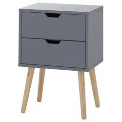 2 x NYBORG 2 DRAWER BEDSIDES DARK GREY