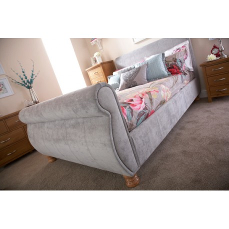 CHICAGO 135CM BED SILVER CHENILLE