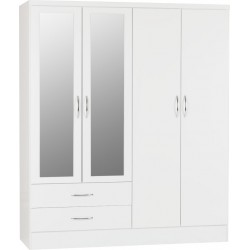 Nevada 4 Door 2 Drawer Wardrobe in Grey Gloss/Light Oak Effect Veneer