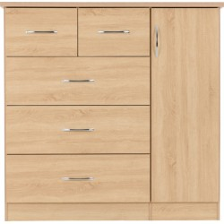 Nevada 5 Drawer Narrow Chest in Oyster Gloss/Light