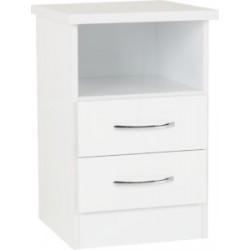 Nevada 2 Drawer Bedside White Gloss