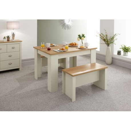 LANCASTER 120CM DINING TABLE & BENCHES CREAM