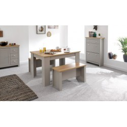 LANCASTER 120CM DINING TABLE & BENCHES GREY