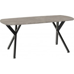 Athens Oval Coffee Table Concrete Effect/Black