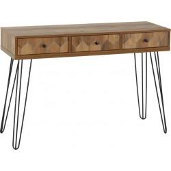 Ottawa 3 Drawer Console Table Medium Oak Effect/Black