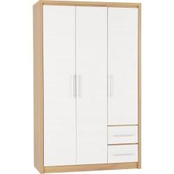 Seville 3 Door 2 Drawer Wardrobe White High Gloss/Light Oak Effect Veneer