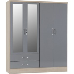 Nevada 4 Door 2 Drawer Mirrored Wardrobe Grey Gloss/Light Oak Effect Veneer