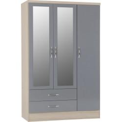 Nevada 3 Door 2 Drawer Mirrored Wardrobe Grey Gloss/Light Oak Effect Veneer