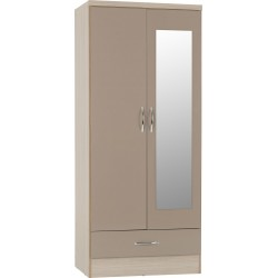Nevada Mirrored 2 Door 1 Drawer Wardrobe Oyster Gloss/Light Oak Effect Veneer