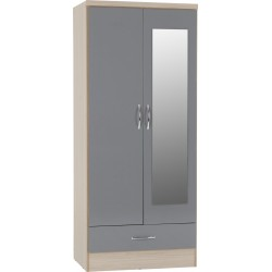 Nevada Mirrored 2 Door 1 Drawer Wardrobe Grey Gloss/Light Oak Effect Veneer