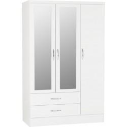 Nevada 3 Door 2 Drawer Mirrored Wardrobe White Gloss