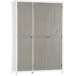 Vermont 3 Door Wardrobe White/Grey