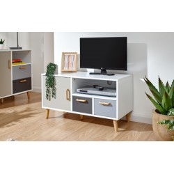 DELTA SMALL TV UNIT WHITE/GREY MULTI