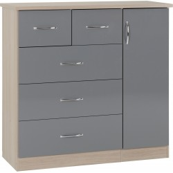 Nevada 5 Drawer Low Wardrobe Grey Gloss/Light Oak Effect Veneer