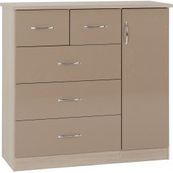 Nevada 5 Drawer Low Wardrobe Oyster Gloss/Light Oak Effect Veneer