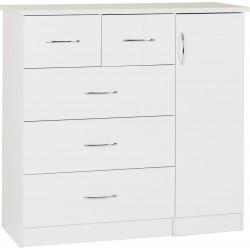 Nevada 5 Drawer Low Wardrobe White Gloss