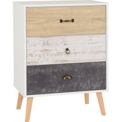 Nordic 3 Drawer Chest White/Distressed Effect